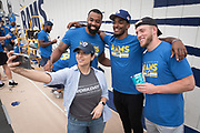 Los Angeles Rams tight end Romello Brooker (left), receiver Jalen Greene (center) and  guard Chandler Brewer pose for selfie during community improvement project at Belvedere Elementary School to upgrade play and social spaces around the school by building a new playground structure, painting murals and basketball backboards and landscaping., Friday, June 14, 2019, in Los Angeles, Calif. (Ed Ruvalcaba/Image of Sport)