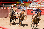 31 AUGUST 2007 -- PHOENIX, AZ: Charros in the arena at the Congreso y Campeonato Nacional Charro in Phoenix, AZ, Friday, August 31. The event is the US championship for the Mexican Federacion Mexicana de Charreria. The winners of the US championship go on to compete in the Mexican Charreada championships in Morelia, Michoacan, Mexico in October. Charreadas are Mexican style rodeos that are popular in Mexican communities throughout the US. As the Mexican immigrant community has expanded throughout the US, the sport has expanded with it. Charreadas are now held as far north as Minnesota and along the US - Mexico border.   Photo by Jack Kurtz