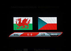 NEWPORT, WALES - Thursday, April 4, 2019: The scoreboard records Wales' goalless draw with Czech Republic during an International Friendly match between Wales and Czech Republic at Rodney Parade. (Pic by David Rawcliffe/Propaganda)