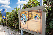 Historic markers explaining that the beach in this park was where Spanish explorer Juan Ponce de Leon set foot on Florida in Melbourne Beach, Florida. Ponce de Leon landed near this site in 1513 and claimed Florida for the Spanish Empire.