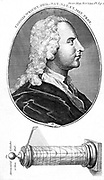 Thomas Wright (1711-1786) English astronomer. From 'The Gentleman's Magazine', London, 1793. The object at the bottom of the engraving is a cylinder sundial for telling the time.