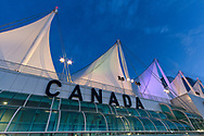 View of the sails of Canada Place from the perimeter walkway.  Canada Place was the Canada Pavilion during Expo '86 and is now the Vancouver Convention Center East Building in Vancouver, British Columbia, Canada.