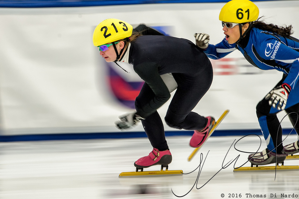 March 20, 2016 - Verona, WI - Anna Quinn, skater number 213 competes in US Speedskating Short Track Age Group Nationals and AmCup Final held at the Verona Ice Arena.