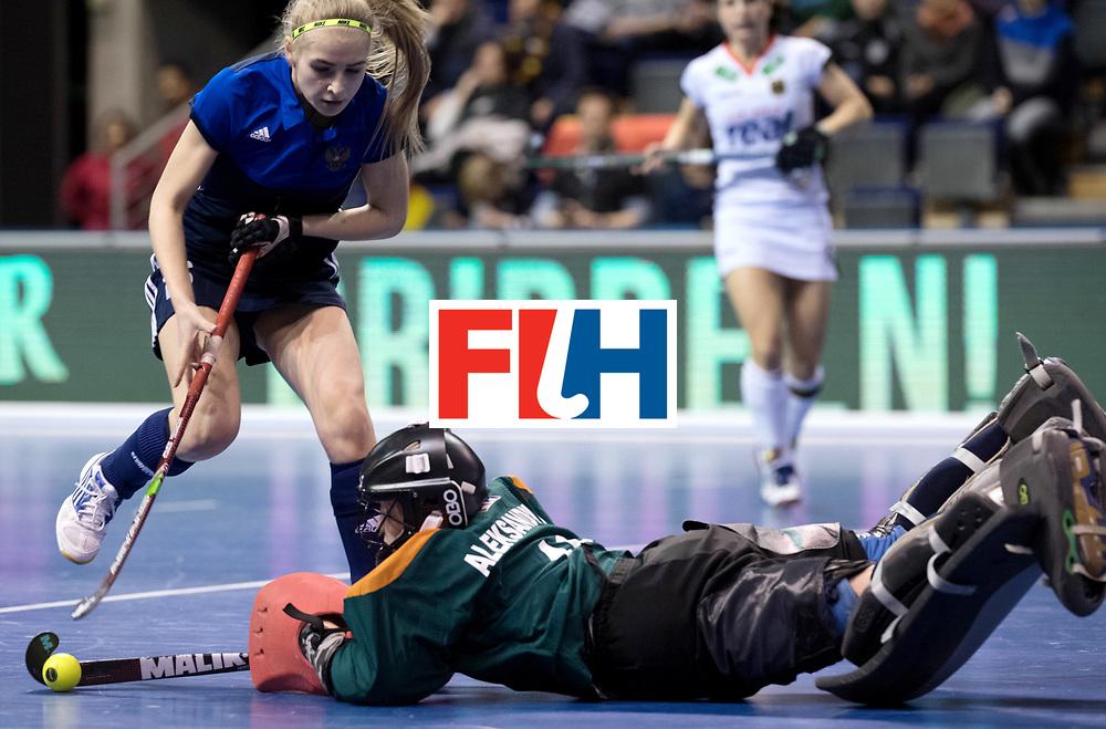 BERLIN - Indoor Hockey World Cup<br /> Women: Germany - Russia<br /> foto: ALEKSANDRINA Viktoriia (C, GK)<br /> WORLDSPORTPICS COPYRIGHT FRANK UIJLENBROEK
