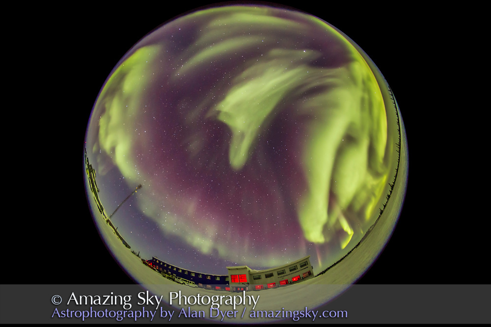The great all-sky aurora display of March 6, 2016 over the Churchilll Northern Studies Centre, Churchill, Manitoba, in a view looking north. Here, the green curtains swirl out of the northeast sky. This is one frame from a time-lapse sequence shot with the Sigma 8mm fish-eye lens and Canon 6D, intended for projection in digital planetarium theatres.