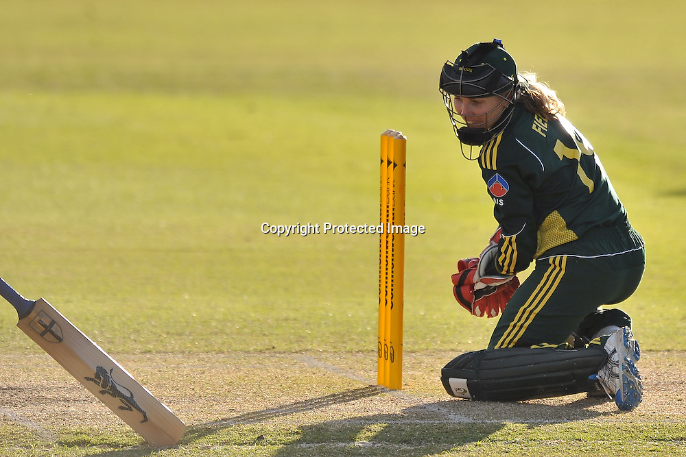 Jodie Fields thinks about a stumping ~ Game 7 (ODI) of the Rose Bowl Trophy Cricket played between Australia and New Zealand at Alan Border Field in Brisbane (Australia) ~ Thursday 16th June 2011 ~ Photo : Steven Hight (AURA Images) / Photosport