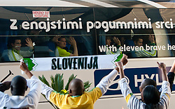 Branko Ilic of Slovenia, Andraz Kirm of Slovenia, Rene Krhin and Elvedin Dzinic in a bus at departure of Slovenia National team from Southern Sun Hyde Park Hotel to airport for flight home after the last 2010 FIFA World Cup South Africa Group C  match between Slovenia and England on June 25, 2010 at Southern Sun Hyde Park Hotel, Johannesburg, South Africa. (Photo by Vid Ponikvar / Sportida)