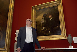 Sir John Leighton, director general of the National Galleries of Scotland with one of two newly-acquired paintings by Raeburn. pic by Terry Murden @edinburghelitemedia