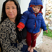 Greece with Doctors of the World (Medecins du monde). Chios Island, one of the places where refugees from Turkey land en route to Northern Europe. Souda camp. Nine month old Ashrafi Mohamadi