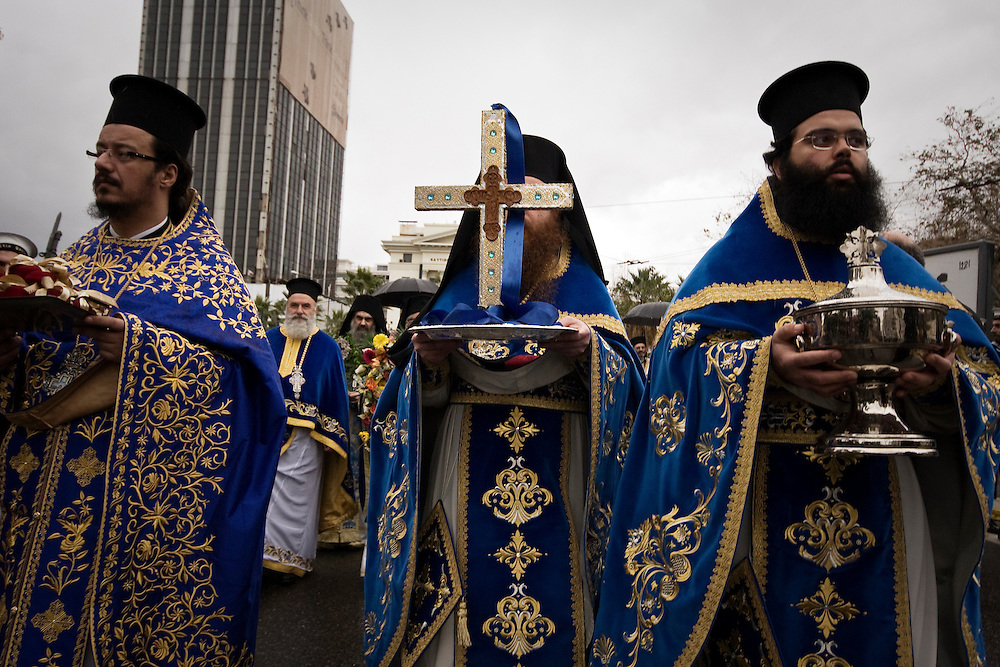 06-01-2013 Athens, Greece - Celebration of the Orthodox Epiphany Day in the port of Piraeus.