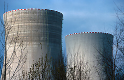 CZECH REPUBLIC:TEMELIN:MAR00 - General view of two of the cooling towers of the nuclear power plant Temelin the southern Bohemia. Despite vehement and sustained protests from both environmental groups at home and abroad, the Czech government persist on completing the fourth reactor of the plant. .Neighbouring cournties Austria and Germany have expressed concerns about the outdated technology and security measures applied inside the reactor. jre/Photo by Jiri Rezac..© Jiri Rezac 2000..Tel:   +44 (0) 7050 110 417.Email: info@jirirezac.com.Web:   www.jirirezac.com