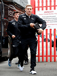 Derby County's Martyn Waghorn arrives at the stadium ahead of the match at Ashton Gate