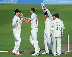 Michael Hogan of Glamorgan celebrates with team mates after bowling out Benny Howell of Gloucestershire for 40 - Mandatory byline: Dougie Allward/JMP - 07966386802 - 24/09/2015 - Cricket - County Ground -Bristol,England - Gloucestershire CCC v Glamorgan CCC - LV=County Championship - Division Two - Day Three