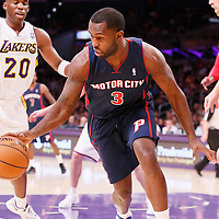 17 November 2013: Detroit Pistons shooting guard Rodney Stuckey (3) dribbles during the Los Angeles Lakers 114-99 victory over the Detroit Pistons at the Staples Center, Los Angeles, California, USA.