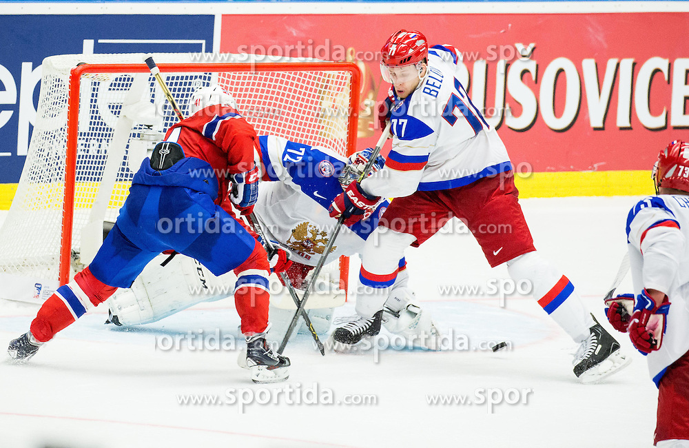 Patrick Thoresen of Norway vs Sergei Bobrovski of Russia and Anton Belov of Russia  during Ice Hockey match between Russia and Norway at Day 1 in Group B of 2015 IIHF World Championship, on May 1, 2015 in CEZ Arena, Ostrava, Czech Republic. Photo by Vid Ponikvar / Sportida