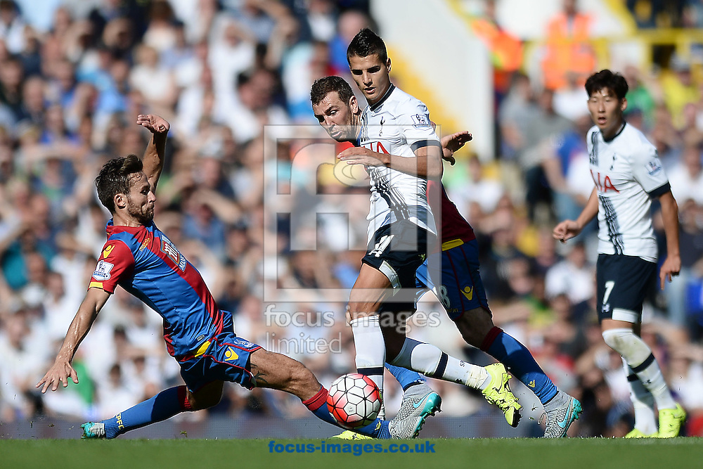 Erik Lamela of Tottenham Hotspur does battle with Yohan Cabaye of Crystal Palace during the Barclays Premier League match between Tottenham Hotspur and Crystal Palace at White Hart Lane, London<br /> Picture by Richard Blaxall/Focus Images Ltd +44 7853 364624<br /> 20/09/2015