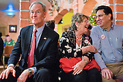 "13 OCTOBER 2010 - SOUTH TUCSON, AZ: Terry Goddard sits on bench next to Betsy Bolding and Augie Garcia during a Democratic ""Unity Rally"" at Rigo's in South Tucson. Goddar spent the day in Tucson campaigning. Goddard lost the election to sitting Governor Jan Brewer, a conservative Republican.     PHOTO BY JACK KURTZ"