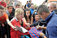 Alexis Alejandro Sanchez from Barcelona signs his autographs after press conference in The Polish Baltic Frédéric Chopin Philharmonic in Gdansk, Poland.<br /> A few hours before friendly match between Lechia Gdansk and FC Barcelona.<br /> <br /> Poland, Gdansk, July 30, 2013<br /> <br /> Picture also available in RAW (NEF) or TIFF format on special request.<br /> <br /> For editorial use only. Any commercial or promotional use requires permission.<br /> <br /> Photo by © Adam Nurkiewicz / Mediasport