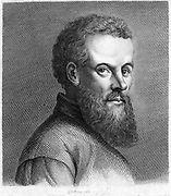 Andreas Vesalius (1514-1564) Flemish anatomist. Engraving from J.K. Lavater 'Essays in Physiognomy', London, 1789-1798