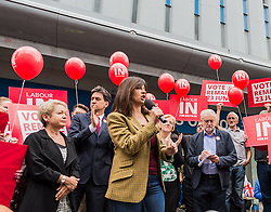 Labour leader Jeremy Corbyn, previous leader Ed Miliband, the Doncaster MP and Caroline Flint the MP for Don Valley on the Labour In campaign trail at Doncaster encouraging voters to remain in the EU at the referendum of 23rd June<br /> <br /> (c) John Baguley | Edinburgh Elite media