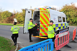 © Licensed to London News Pictures. 24/10/2018.<br /> Fawkham, UK. Kent police close of an area around Scratchers Lane near Brands Hatch race circuit, Kent, near to where the search for missing mother Sarah Wellgreen is currently taking place. Police forensics have visited the site. Photo credit: Grant Falvey/LNP