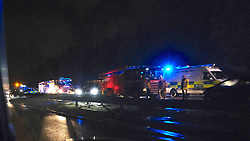 The M8 eastbound was closed at J4 Whitburn due to a multiple vehicle accident. Emergency services and recovery vehicles were in attendance<br /> <br /> Pictured: General view<br /> <br /> Alex Todd | Edinburgh Elite media