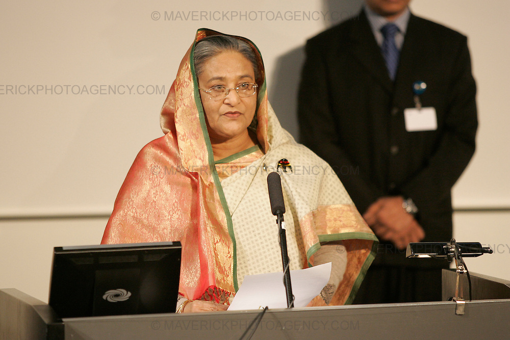 LUND, SWEDEN - 19 December 2009: The Prime Minister of Bangladesh, Sheikh Hasina states that she feels the COP 15 Summit result is not the end, but instead the beginning of actions, during a speech at Lund University, Sweden about climate changes and adherent challenges in Bangladesh. The lecture is given after what many see as failed negotiations at the COP 15 Summit in Copenhagen, Denmark earlier during the same morning. (Photograph: Sonny Johansson/MAVERICK)