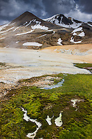 Kerlingarfjöll Mountain Range, Interior of Iceland. Green moss in foreground, Mount Fannborg and Snækollur above.