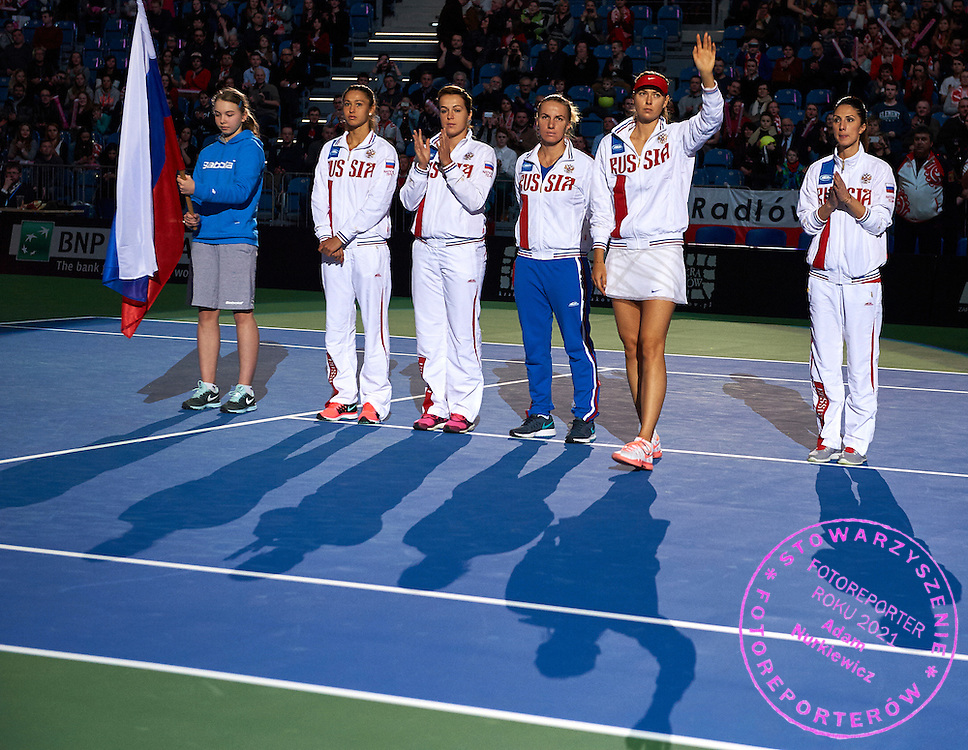 (R-L) trainer coach Anastasia Myskina and Maria Sharapova and Svetlana Kuznetsova and Anastasia Pavyuchenkova and Vitalia Diatchenko all from Russia during Second Day of the Fed Cup / World Group 1st round tennis match between Poland and Russia at Tauron Krakow Arena on February 8, 2015 in Cracow, Poland.<br /> <br /> Poland, Cracow, February 8, 2015<br /> <br /> Picture also available in RAW (NEF) or TIFF format on special request.<br /> <br /> For editorial use only. Any commercial or promotional use requires permission.<br /> <br /> Adam Nurkiewicz declares that he has no rights to the image of people at the photographs of his authorship.<br /> <br /> Mandatory credit:<br /> Photo by &copy; Adam Nurkiewicz / Mediasport