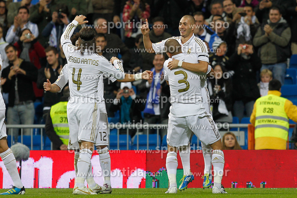 26.10.2011, Estadio Santiago Bernabeu, Madrid, ESP, Primera Division, Real Madrid vs FC Villarreal, im Bild Real Madrid's Karim Benzema goal  // during Primera Division league football match between Real Madrid an FC Villarreal at Santiago Bernabeu Stadium, Madrid, Spain on 26/10/2011. EXPA Pictures © 2011, PhotoCredit: EXPA/ Alterphoto/ Alex Cid-Fuentes  +++++ ATTENTION - OUT OF SPAIN/(ESP) and OUT OF SWISS/(SUI) +++++