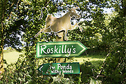 Signs at Roskilly's farm, near St Keverne, Lizard Peninsula, Cornwall, England, UK