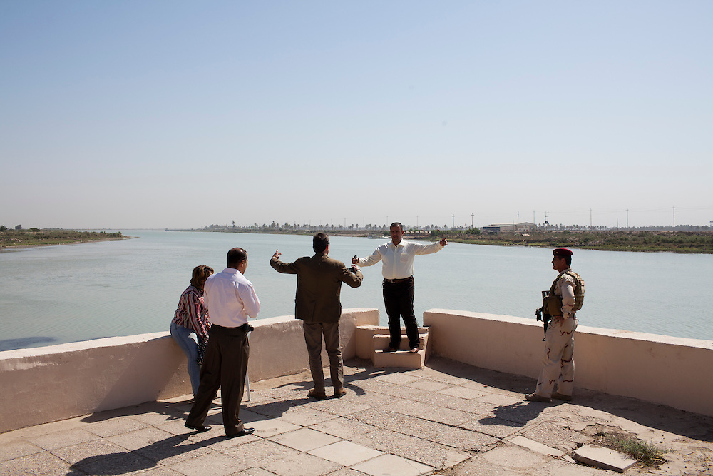 A group visits the location where the Tigris and Euphrates rivers merge on Friday, October 22, 2010 in Qurnah, Iraq.