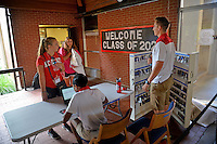 New students check out of their room during orientation at Lee Residence Hall.