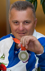 Joze Flere with silver paraolympic medal at welcome ceremony at Airport Joze Pucnik, on September 20, 2008, in Brnik, Slovenia. (Photo by Vid Ponikvar / Sportal Images)./ Sportida)
