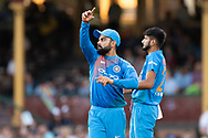 SYDNEY - NOVEMBER 25: Indian player Virat Kohli (c) changes his field at the International Gillette T20 cricket match between Australia and India at The Sydney Cricket Ground in NSW on November 25, 2018. (Photo by Speed Media/Icon Sportswire)