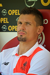 MAINZ, GERMANY - Sunday, August 7, 2016: Liverpool's Dejan Lovren on the bench before a pre-season friendly match against FSV Mainz 05 at the Opel Arena. (Pic by David Rawcliffe/Propaganda)