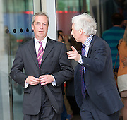 NIgel Farage leader of the UKIP Party, Terry Gilliam, Jimmy Wales & Paddy Ashdown arriving for the Andrew Marr show<br />