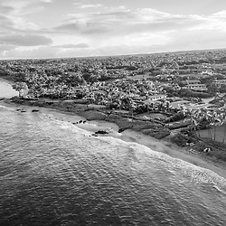 Maui Hawaii aerial drone black and white photo of Mokapu Beach and Keawakapu Beach shoreline at sunrise. Mokapu Beach and Keawakapu Beach are popular destinations in Wailea-Makena Kihei Hawaii. Copyright ⓒ 2019 Paul Velgos with All Rights Reserved.