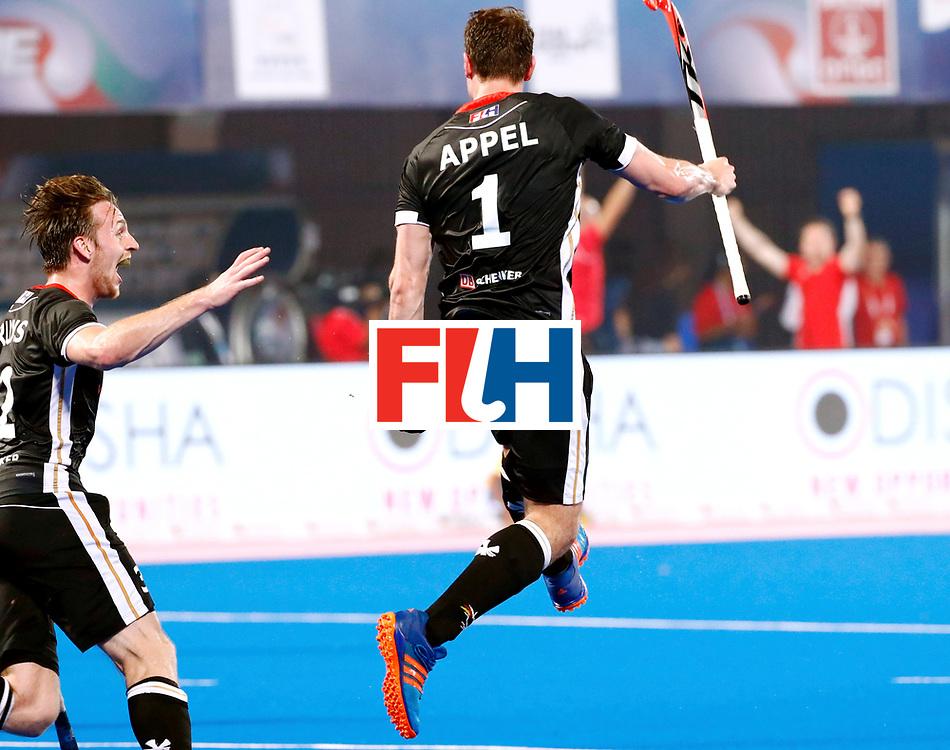 Odisha Men's Hockey World League Final Bhubaneswar 2017<br /> Match id:21<br /> India v Germany<br /> Foto: keeper Mark Appel (Ger) scored 1-1<br /> Niklas Bruns (Ger) <br /> WORLDSPORTPICS COPYRIGHT KOEN SUYK