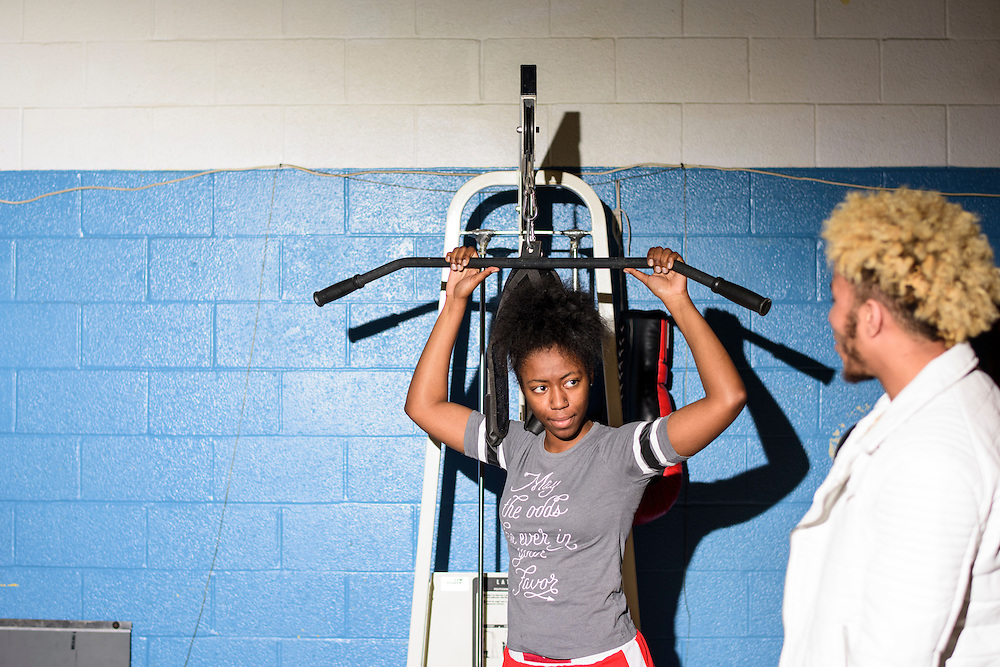 Baltimore, Maryland - January 26, 2017: Mia &quot;Killer Bee&quot; Ellis, at the Upton Boxing Club in Baltimore.<br /> <br /> <br /> CREDIT: Matt Roth for The New York Times<br /> Assignment ID: