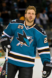 May 2, 2010; San Jose, CA, USA;  San Jose Sharks left wing Ryane Clowe (29) before game two of the western conference semifinals of the 2010 Stanley Cup Playoffs against the Detroit Red Wings at HP Pavilion.  San Jose defeated Detroit 4-3. Mandatory Credit: Jason O. Watson / US PRESSWIRE