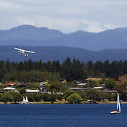 Taupo's Floatplane takes off from Lake Taupo. Taupo,  New Zealand,7th January 2011. Photo Tim Clayton