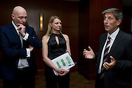 (L-R) Wojciech Dobrzynski & Katarzyna Posluszny & Andrew Jarrett - ITF referee supervisor while official dinner at Regent Hotel two days before the BNP Paribas Davis Cup 2014 between Poland and Croatia at Torwar Hall in Warsaw on April 2, 2014.<br /> <br /> Poland, Warsaw, April 2, 2014<br /> <br /> Picture also available in RAW (NEF) or TIFF format on special request.<br /> <br /> For editorial use only. Any commercial or promotional use requires permission.<br /> <br /> Mandatory credit:<br /> Photo by © Adam Nurkiewicz / Mediasport
