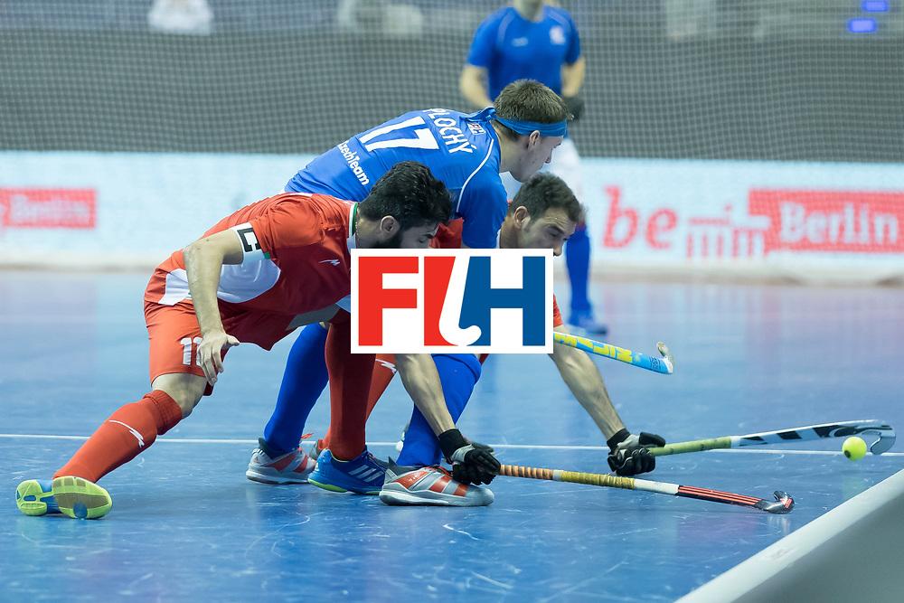 Hockey, Seizoen 2017-2018, 09-02-2018, Berlijn,  Max-Schmelling Halle, WK Zaalhockey 2018 MEN, Iran - Czech Republic 2-2 Iran Wins after shoutouts, Behdad Beiranvand and Lukas Plochy.
