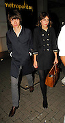 08.OCTOBER.2007. LONDON<br /> <br /> ARCTIC MONKEYS FRONTMAN ALEX TURNER LEAVING THE Q AWARDS AFTERPARTY AT THE MET BAR WITH T4 PRESENTER ALEXA CHUNG.<br /> <br /> BYLINE: EDBIMAGEARCHIVE.CO.UK<br /> <br /> *THIS IMAGE IS STRICTLY FOR UK NEWSPAPERS AND MAGAZINES ONLY*<br /> *FOR WORLD WIDE SALES AND WEB USE PLEASE CONTACT EDBIMAGEARCHIVE - 0208 954 5968*