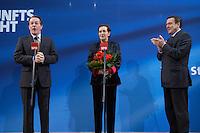 21 FEB 2005, BERLIN/GERMANY:<br /> Franz Muentefering (L), SPD Parteivorsitzender, Heide Simonis (M), SPD, Ministerpraesidentin Schleswig-Holstein, und Gerhard Schroeder (R), SPD, Bundeskanzler, waehrend einem kurzen Statement zum Ausgang der Landtagswahl Schleswig-Holstein, Willy-Brandt-Haus<br /> IMAGE: 20050221-01-016<br /> KEYWORDS: Franz Müntefering, Gerhard Schröder, Blumen