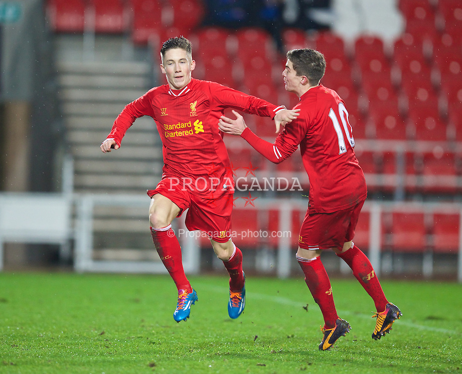 ST. HELENS, ENGLAND - Wednesday, January 15, 2014: Liverpool's Harry Wilson celebrates scoring the second goal against Aston Villa during the FA Youth Cup 4th Round match at Langtree Park. (Pic by David Rawcliffe/Propaganda)