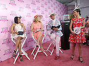 """Longines Ambassador of Elegance and World Cup Alpine skier Mikaela Shiffrin, center, Monte Durham, right, of """"Say Yes to the Dress,"""" and Alicia Quarles, of E! News, judge the Longines Kentucky Oaks Fashion Contest on Kentucky Oaks Day, Friday, May 1, 2015, in Louisville, Ky. Longines, the Swiss watch manufacturer known for its luxury timepieces, is the Official Watch and Timekeeper of the 141st annual Kentucky Derby. (Photo by Diane Bondareff/Invision for Longines/AP Images)"""