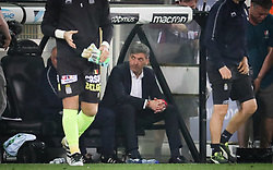 April 19, 2018 - Brugge, BELGIUM - Charleroi's head coach Felice Mazzu looks dejected after the Jupiler Pro League match between Club Brugge and Sporting Charleroi, in Brugge, Thursday 19 April 2018, on day four of the Play-Off 1 of the Belgian soccer championship. BELGA PHOTO VIRGINIE LEFOUR (Credit Image: © Virginie Lefour/Belga via ZUMA Press)