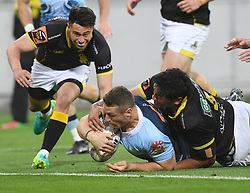 Northland's Jordan Hyland scores in the tackle of Wellington's Sam Lousi in the Mitre 10 Semi Final Rugby match at Westpac Stadium, Wellington, New Zealand, Friday, October 20, 2017. Credit:SNPA / Ross Setford  **NO ARCHIVING**